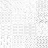Set of 25 seamless geometric patterns. 25 Universal different vector seamless patterns. Endless texture can be used for wallpaper, pattern fills, web page Royalty Free Stock Images