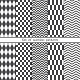 Set of seamless geometric patterns. Vector background royalty free illustration