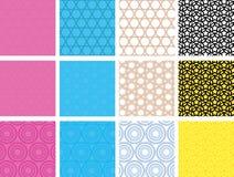 Set of seamless geometric patterns. Set of 12 vector seamless geometric patterns with circles and stars Stock Photo