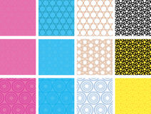 Set of seamless geometric patterns. Set of 12 vector seamless geometric patterns with circles and stars Vector Illustration