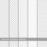 Set of seamless geometric patterns. Vector white and grey texture vector illustration