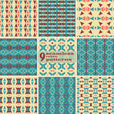 Set of seamless geometric retro patterns. Set of 9 seamless retro patterns. Beautiful graphic prints with triangular and trapezoidal elements. Abstract geometric royalty free illustration