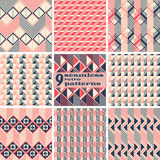 Set of seamless geometric retro patterns. Set of 9 seamless retro patterns. Beautiful graphic prints with zigzags, squares, triangles, diagonal lines. Abstract stock illustration