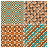 Set of seamless geometric retro patterns. For textiles, interior design, for book design, website background Royalty Free Stock Image
