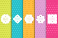 Set of seamless geometric simple patterns - colorful minimal design. Vibrant geometric vector backgrounds. Bright stylish texture stock illustration