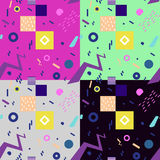 Set of seamless geometric vintage pattern in retro 80s style, memphis. Seamless geometric pattern in retro 80s style, memphis Royalty Free Stock Photography
