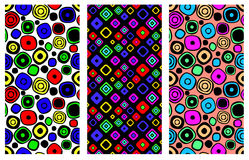 Set of seamless  geometrical patterns. Endless background with hand drawn ornamental squares, circles. Graphic  illust Royalty Free Stock Image
