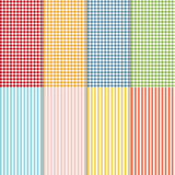 Set of seamless gingham, buffalo check plaid and bed linen patterns. Eight checkered and striped seamless patterns. Vector vector illustration