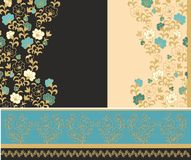 Set of laced floral border decors Stock Photo