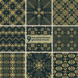 Set of seamless golden graceful oriental patterns. Set of seamless abstract geometric patterns with beautiful flourishes. Graceful oriental ornaments in golden royalty free illustration