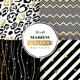 Set with seamless golden pattern. Vector illustration. EPS 10 vector illustration