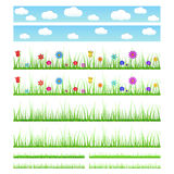 Set of seamless grass with flowers and without Royalty Free Stock Images