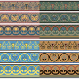 Set of seamless Greek patterns of different colors. Royalty Free Stock Photo