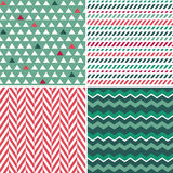 Set of seamless green and red background patterns