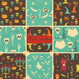Set of seamless Halloween party patterns. Evil pumpkins, skulls with drinking straws and cocktail umbrellas, flying witches, demonic trees, candelabrums Royalty Free Stock Image
