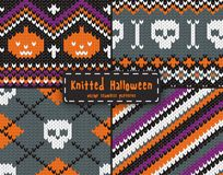 Set of seamless Halloween patterns. Set of seamless knitted patterns for Halloween design. EPS 10 vector illustration stock illustration