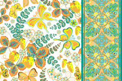 Set of seamless hand draw floral pattern with strawberry and butterfly and seamless border ribbon band tape strip  Royalty Free Stock Images