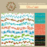 Set of seamless hand-drawn floral patterns. Stock Images