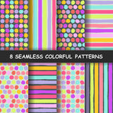 Set of  seamless hand drawn graphic patterns. Made in vector. Set of eight colorful seamless hand drawn graphic patterns with dotted and stripes. Polka dotted Royalty Free Stock Photos
