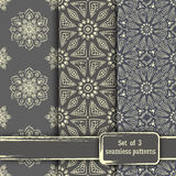 Set of seamless hand drawn mandala patterns. Vintage elements in Stock Photo
