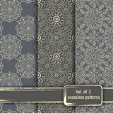 Set of seamless hand drawn mandala patterns. Vintage elements in. Oriental style, grunge effect. Can be used as fabric, paper and page fill. Islam, arabic Stock Photography