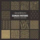 Set of seamless hand drawn marker and ink patterns. Abstract vector scratch textures with dots, strokes and doodles Stock Photo