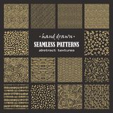 Set of seamless hand drawn marker and ink patterns Royalty Free Stock Image