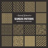 Set of seamless hand drawn marker and ink patterns. Abstract vector scratch textures with dots, strokes and doodles Royalty Free Stock Images