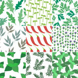 Set of 9 seamless hand drawn patterns Stock Photography