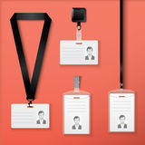 Set of seamless hand drawn patterns with different geometric and artistic elements. Collection of id cards with lanyard, retractor and clasp. Vector Stock Photo
