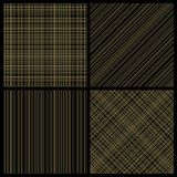 Set of seamless hatch patterns. Gold hatch on black background. Cross lines vector seamless backgrounds Stock Images