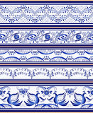 Set of seamless horizontal borders or ethnic style Gzhel porcelain painting. Stock Photography