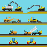 Set of seamless horizontal road construction Stock Image