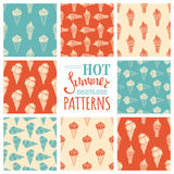 Set of seamless ice-cream cones patterns. Royalty Free Stock Photo