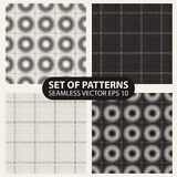 Set of seamless knitted patterns graphics. Stock Image