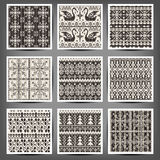 Set of seamless knitted patterns Stock Photo