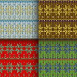 Set of seamless knitted patterns. Set of traditional christmas knitted Scandinavian seamless patterns Stock Photography