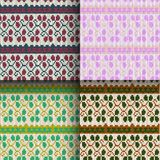 Set of seamless knitted patterns. Set of traditional christmas knitted Scandinavian seamless patterns Royalty Free Stock Images