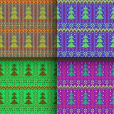 Set of seamless knitted patterns. Set of traditional christmas knitted Scandinavian seamless patterns Royalty Free Illustration