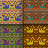 Set of seamless knitted patterns. Set of traditional christmas knitted Scandinavian seamless patterns stock illustration