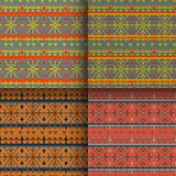Set of seamless knitted patterns. Set of traditional christmas knitted Scandinavian seamless patterns Royalty Free Stock Image
