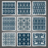 Set of seamless knitted patterns. Vintage style. Vector illustration. The elements of design. 10 eps Royalty Free Illustration