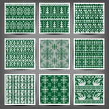 Set of seamless knitted patterns. Royalty Free Stock Photo