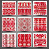 Set of seamless knitted patterns. Stock Photo