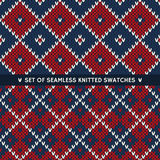 Set of 2 Seamless Knitted Patterns Stock Photo