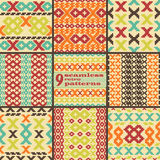 Set of seamless knitted retro patterns. Set of 9 seamless knitted retro patterns. Elegant geometric ornaments of stair step elements in folk style. Beautiful stock illustration