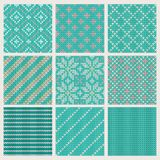 Set of seamless knitting patterns Royalty Free Stock Images