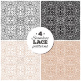 Set of seamless lace backgrounds, delicate vintage Royalty Free Stock Image