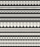Set of seamless lace borders. Ten white openwork ribbons isolated on black background. Vector illustration Stock Photography