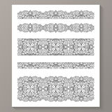 Set of seamless lace borders with transparent Stock Image